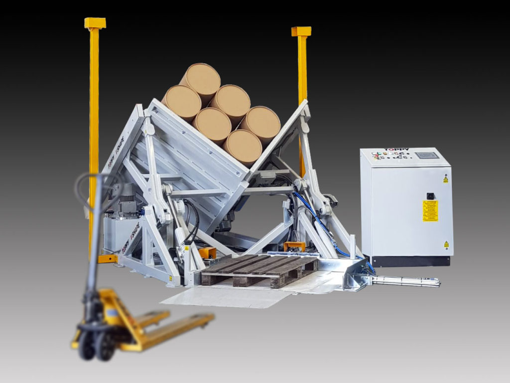 pallet turner Toppy V-shape floor level with pallet truck