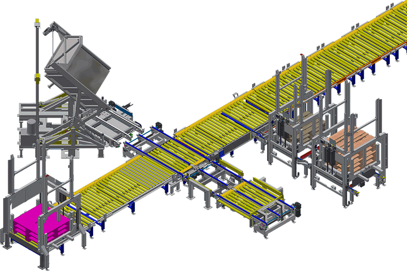 in-line pallet changer V-Shape with pallet stacker low