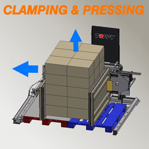 Pallet changer by clamping & pressing