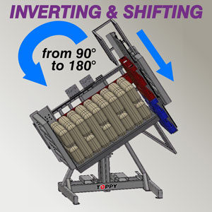 Pallet inverter by inverting and shifting