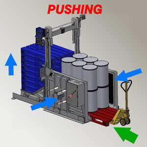 pallet changer by pushing the load