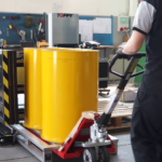 pallet changer side movie yellow drums